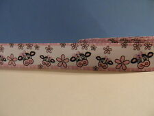 """Grosgrain Ribbon, Holstein Cow with Pink Hair Bow & Pink Daisy Flowers, 1"""""""