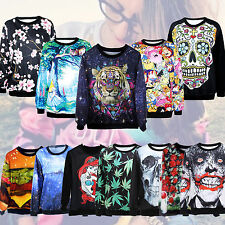 2014 Mens Womens Casual Pullovers Sweatshirts 3D Sweaters Hoodies Tops Jumper