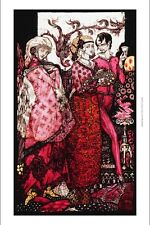 BEAUTIFUL CANVAS PRINT 'Queens' PINK mystery couple poem fashion HARRY CLARKE