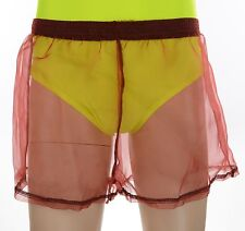 Mens Red Nylon Organza Square Cut Shorts, See Through Thru Sheer Camp Gym Soccer