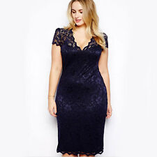 New Womens V-neck Lace Dress Party Cocktail Evening Dress Navy Blue Plus Size