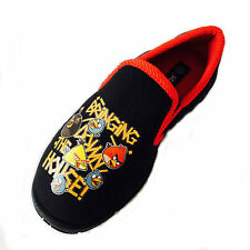 BOYS BLACK ANGRY BIRDS SLIP ON CHARACTER NOVELTY SLIPPERS UK SIZE 10-2