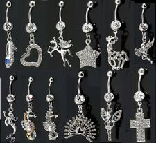 Dangle Belly Bar Crystal Paved Dangly Navel Piercing Belly Button Ring Cross
