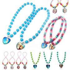 Frozen Anna & Elsa Bead Necklace With Pendants Charms Jewelry Gifts For Kids