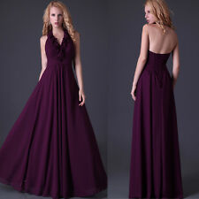 Vintage Deep Purple Evening Cocktail Party Ball Gowns Homecoming Long Prom Dress