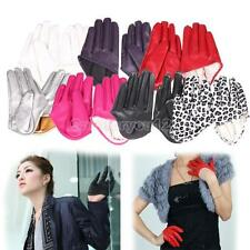 Hot Woman Tight Half Palm Gloves Imitation Leather Five Finger Vivid Color #Cu3
