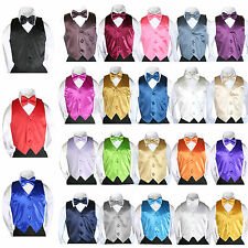 23 Color Satin Bow tie Vest Set (2pc) Baby Boy Toddler 4 Tuxedo Suit Sm-7 New
