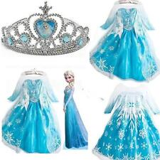 Frozen Disney Princess Girl Queen Elsa Anna Cosplay Costume Party Fancy Dress