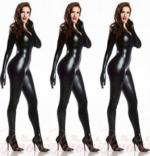 Zipper Front Fashion Black Gothic Punk Wetlook Overall Catsuit Romper