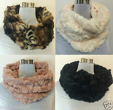 New Super Soft Faux Fur Single Hoop Chunky Warm Snood Winter Scarf