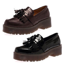 NEW WOMENS FLATFORM LADIES BLOCK HEEL CHUNKY SOLE OFFICE LOAFERS SHOES SIZE 3-8
