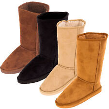 Womens Fur Boots Faux Sheepskin Suede Mid Calf Tall Classic Shoes Winter Warm