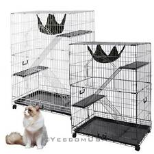 "51"" Large Chinchilla Cat Rabbit Pet Playpen Wire Cage 2 Door Hammock Crate New"