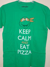 Ninja Turtles Mens New Licensed Michelangelo Keep Calm and Eat Pizza T-shirt