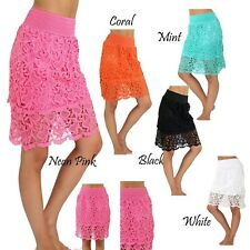 NEW Lace Skirts New Fashion Women s Lady Crochet Tiered Lace  Skirt