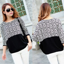 Fashion Plus Size Clothing Womens Blouse Cheap Shirts Joining Together Batwing