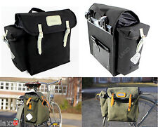 CARRADICE COTTON DUCK KENDAL PANNIERS PAIR 32L WITH CHROMED LEATHER STRAPS F&R