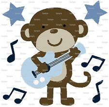 Monkey Playing Guitar ~ Frosting Sheet Cake Topper ~ Edible Image ~ D6015