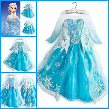 Kids Girls Dresses Disney Elsa Frozen dress costume Princess Anna  dresses E
