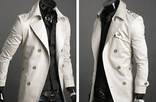 Military Style Men's Slim Fit Macs Double Breasted Trench Coat Jacket Outwear TO