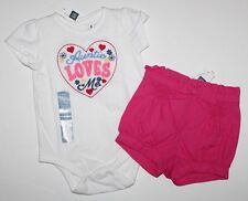 baby Gap NWT Girl 6 12 Mo Outfit Set Auntie Loves Me Bodysuit Top Bloomer Shorts