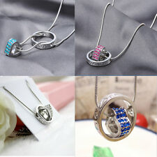 1x Fashion New Heart Ring 6color Choice Rhinestone Necklace for Ladies and Girls