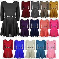 Ladies Womens 3/4 Short Sleeves Belted Flared Franki Party Skater Dress Top 8-26