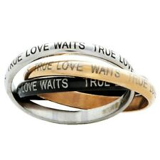 Forgiven Jewelry True Love Waits Ring, 3 Stainless Steel Joined Bands- Sizes 6-8