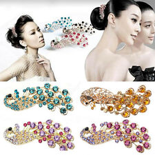 Retro Lady Girl's Full Crystal Rhinestone Peacock Barrette Hairpin Hair Clip Hot