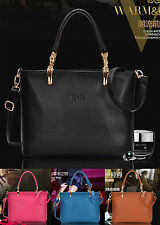 Fashion new women genuine leather handbag shoulder bag black large tote satchel