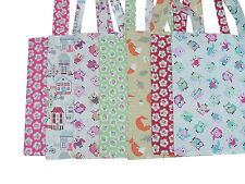 Printed 100% Cotton Designer Fabric Tote Shopping Carry Carrying Shoulder Bag