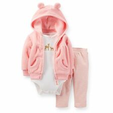 New Carter's 3 Piece Velboa Fleece Cardigan Bodysuit & Pant Set NWT 3 6 9 12 18