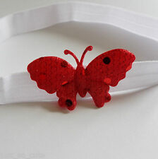 white baby headband red baby headband with a red sparkle butterfly all sizes