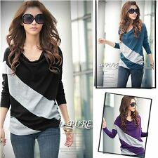 New Women's Loose Casual Blouse T Shirt Tee Striped Batwing long Sleeve Tops