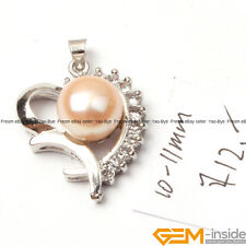 10-11mm Freshwater Pearl Pendant White Gold Plated Love Base Fashion Jewelry