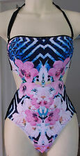 NEW RIVER ISLAND BLUE FLORAL ABSTRACT MONOKINI Size 6, 8, 10