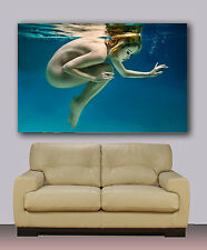 "sexi erotic naked woman under water Huge canvas print 30""x40"""