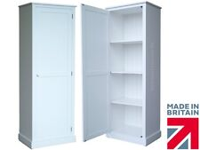 Solid Wood Cupboard,180cm Tall White Painted, Linen, Pantry Storage Cabinet