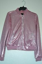 New Guess Women's Emily Sequin Embellishments Pink Bomber Jacket Sz S
