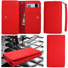 QUILTED Red Leather Wallet Universal Pouch Cover Case For ZTE Phones