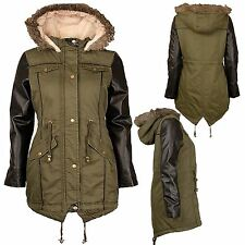Ladies plus size pvc Wetlook Sleeve Long Khaki Parka Jackets Fur Hooded Coats