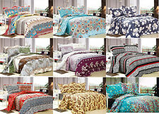 3Pcs Floral Queen Size Polyester Quilt Bedspread Set Bedding Coverlet Ensemble