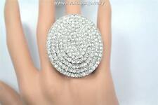 Crystal Round Shield Bling Diva Ring - 3 Colors