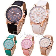 New Women Stylish Geneva Numerals Faux Leather Analog Quartz Wrist Watch