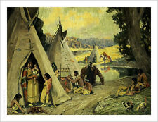 """EANGER IRVING COUSE """"Indian Camp"""" CANVAS ART ! choose SIZE, from 55cm up, NEW"""