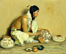 EANGER IRVING COUSE The Pottery Maker NATIVE american CREATIVE skill ON CANVAS