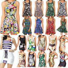 Sexy Women Girl Graphic Print Sleeveless Chic Skirt Mini Skater Vest Tank Dress