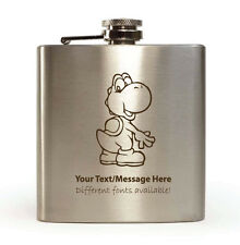 6oz Hip Flask with Gift Box - Personalised With Your Name (Yoshi Design)