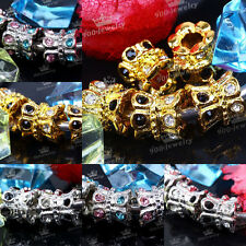 5x Crown Flower Crystal Big Hole European Spacer Loose Beads Fit Charms Bracelet