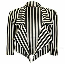 WOMEN'S MONOCHROME VERTICAL STRIPE 3/4 SLEEVE LADIES CROPPED BLAZER PLUS 8 - 22